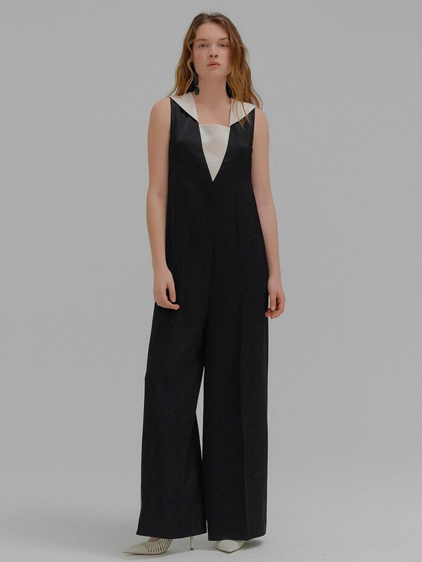 MISTY Black Jumpsuit With Detachable Sailor Collar