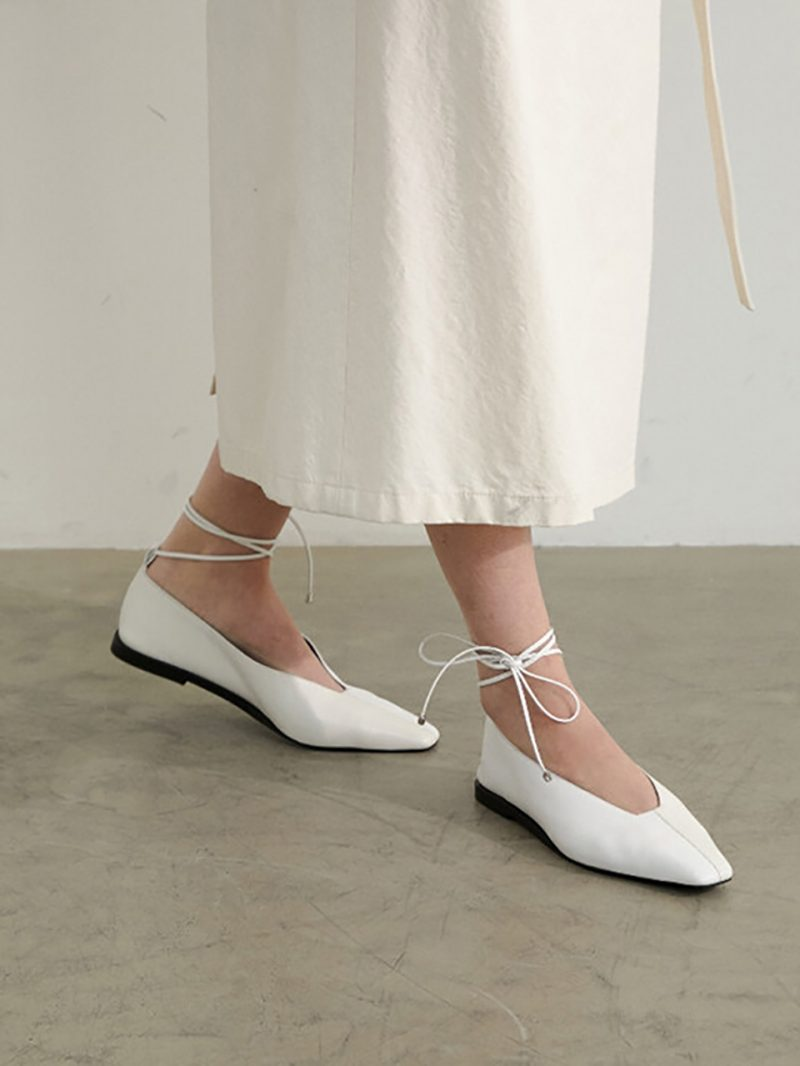 Miel Flat Leather White-Ivory
