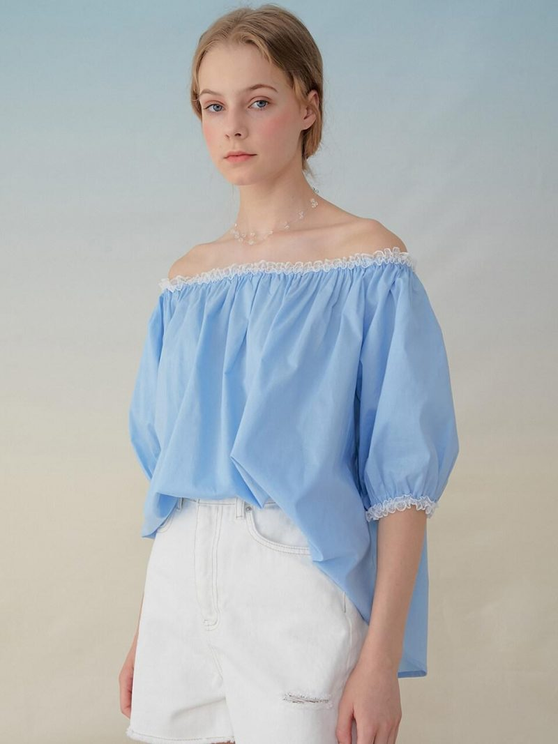 Monts939 Lace Off-Shoulder Blouse _Sky Blue