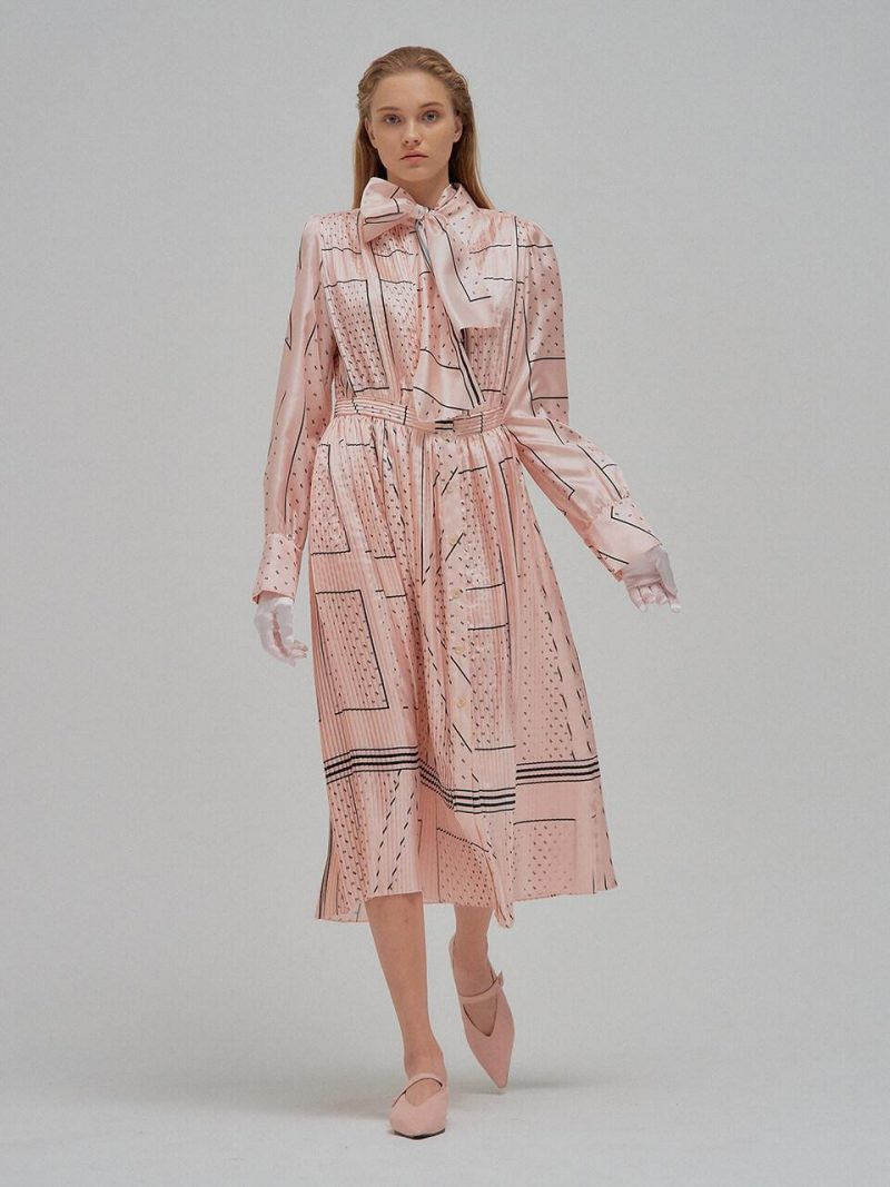NOELLE EENK Printed Long Shirt Dress With Separabl