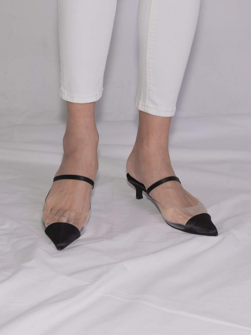 Nick Pointed Toe Glass Mule Black Satin