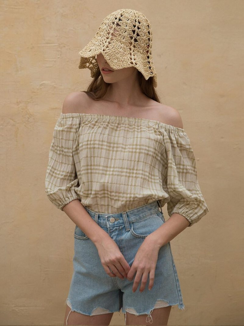 Off Shoulder Check Blouse Khaki