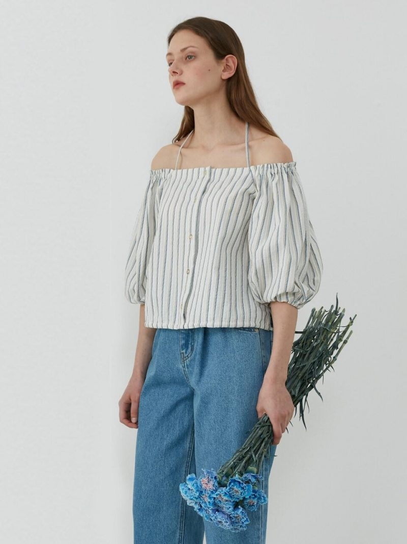 Off-The-Shoulder Blouse_Blue