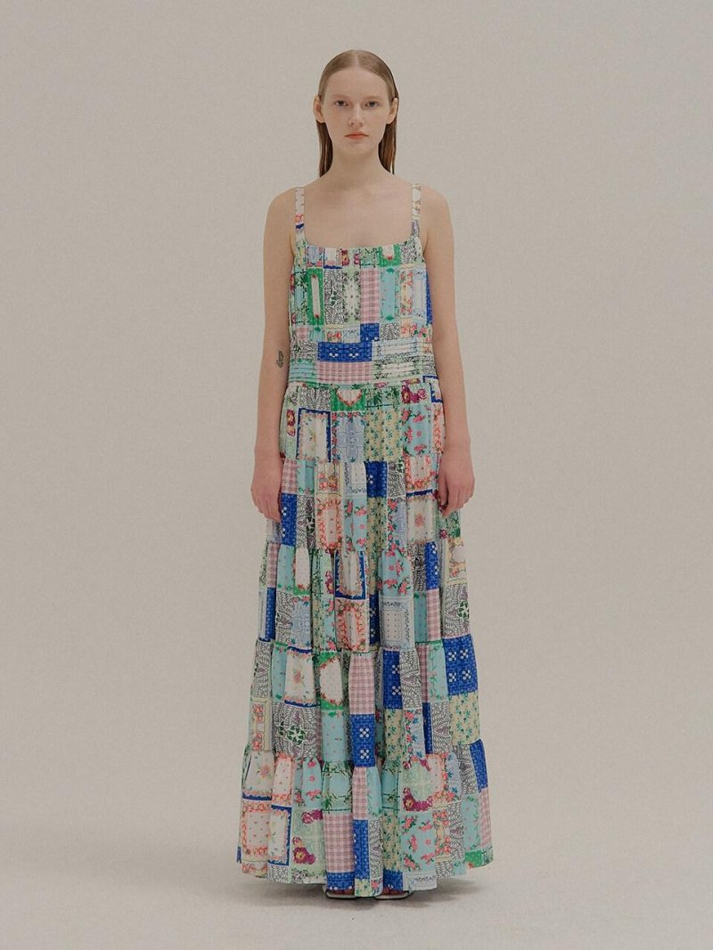 Patterned Patchwork Printed Maxi Dress