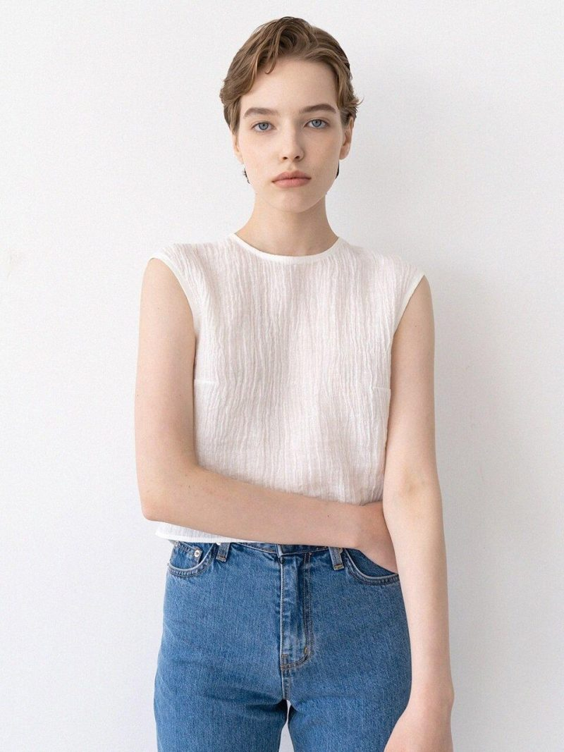 Peated Crop Blouse - Ivory