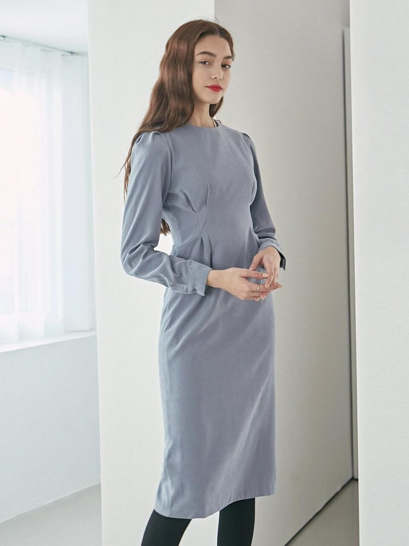 Pintuck Waist Long Dress_Sky Blue