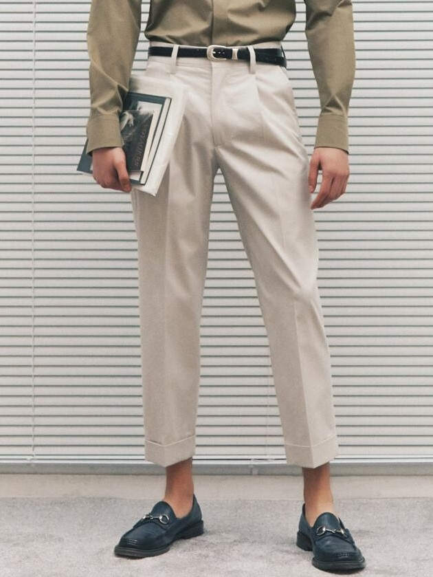 Pleated Cotton Blended Baggy Trousers