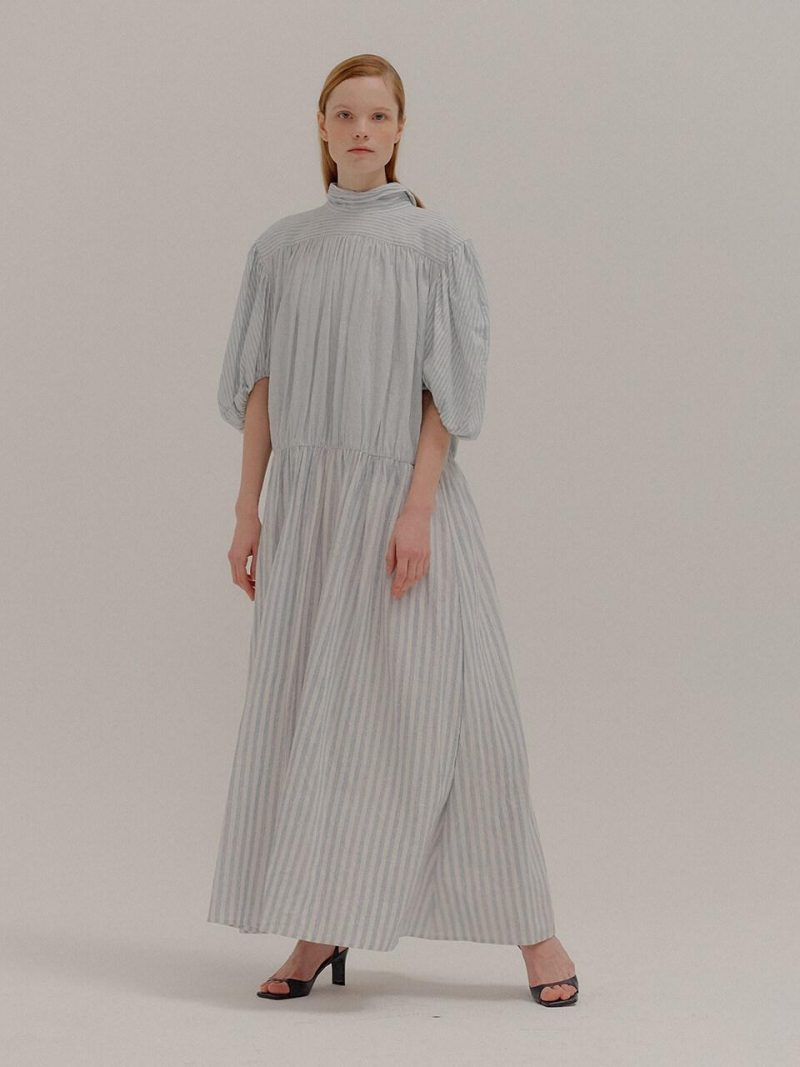 Polina Striped Shirred Maxi Dress With Gold Button