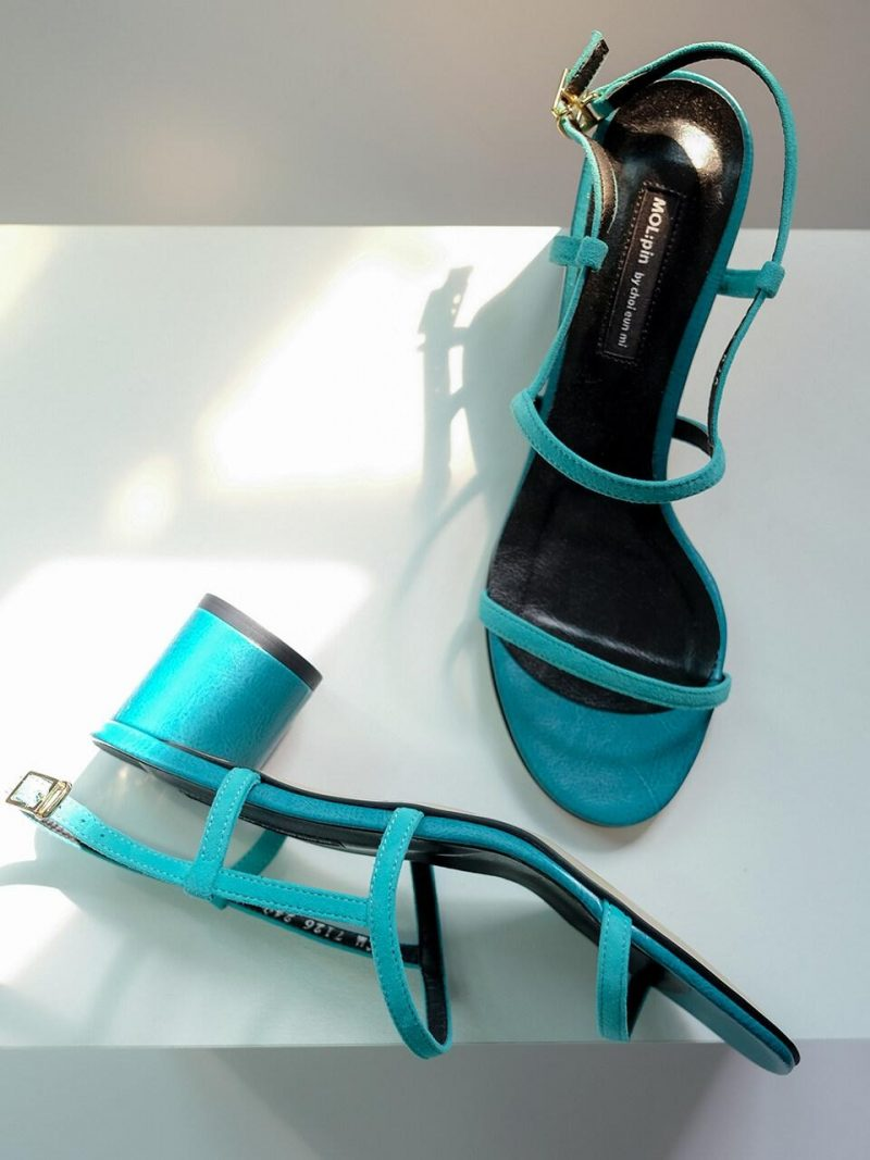 Rounded Heel Color Point Middle Sandal Heel