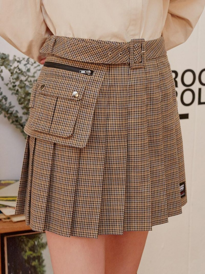 (SK-19541) Belt Pleats Skirt Beige