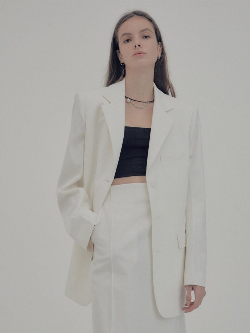 Signature Wool Belted Tailored Jacket Ivory