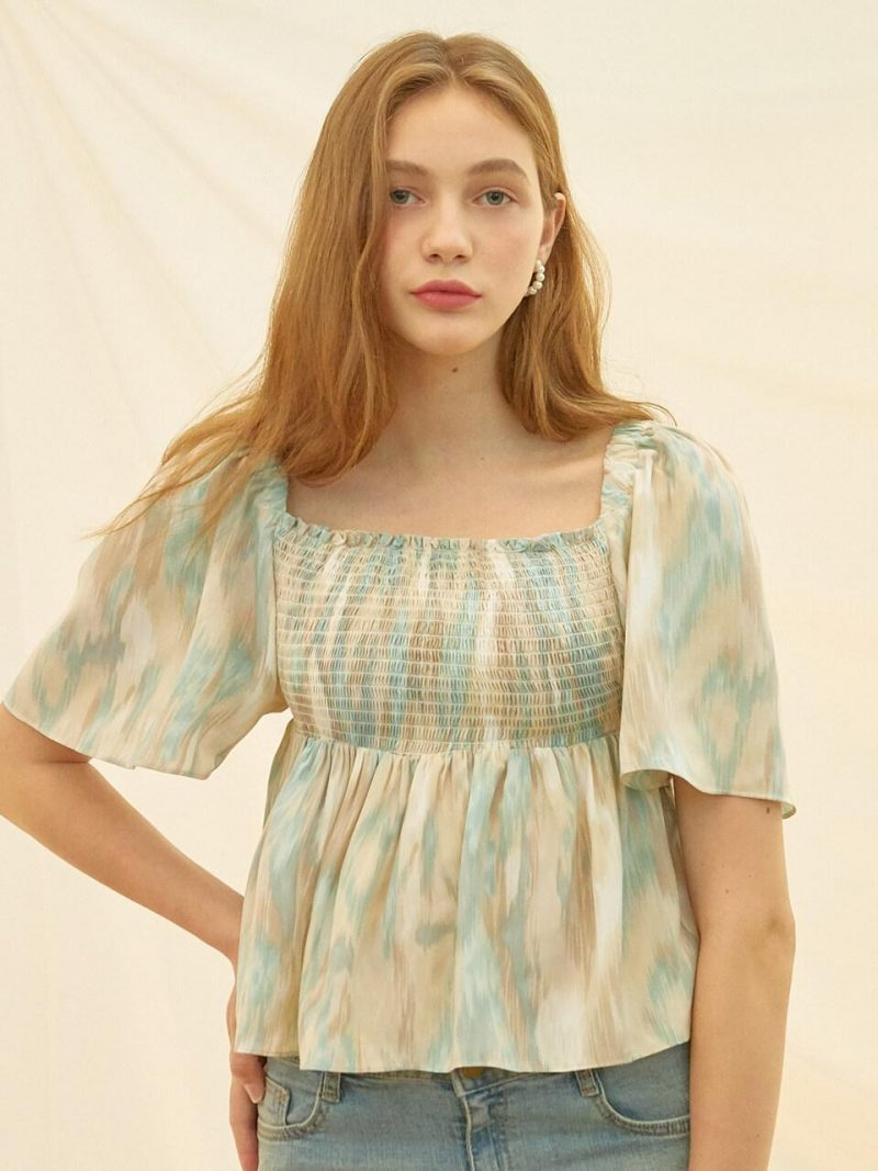 Smock Banding Watery Blouse Sky Blue