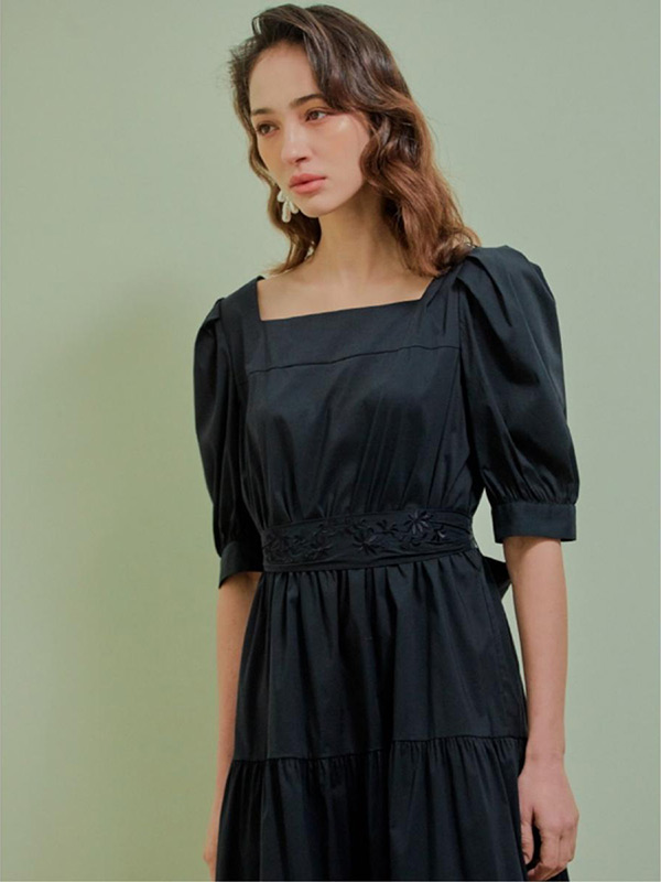 Square Neck Puff Sleeve Dress_2colors