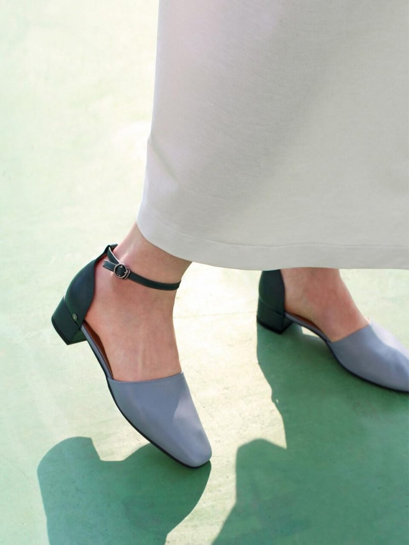 Square Toe 2 Way Strap Shoes Sky Blue Green Combi