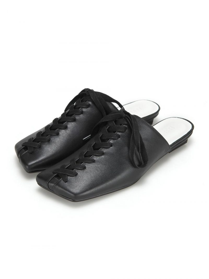 Square Toe Lace Up Mules Black