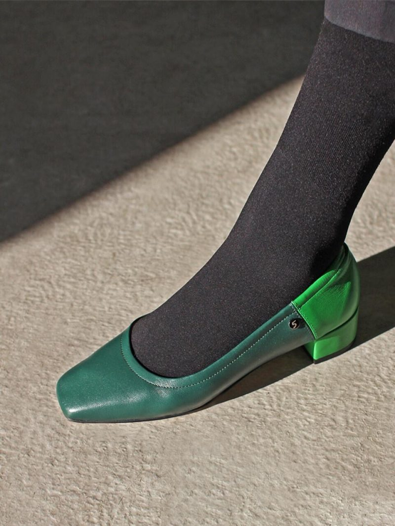 Square Toe Low String Pumps Green Combi