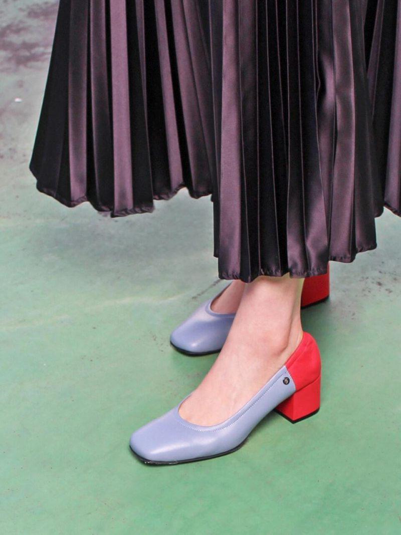 Square Toe Middle String Pumps Sky Blue Red Combi