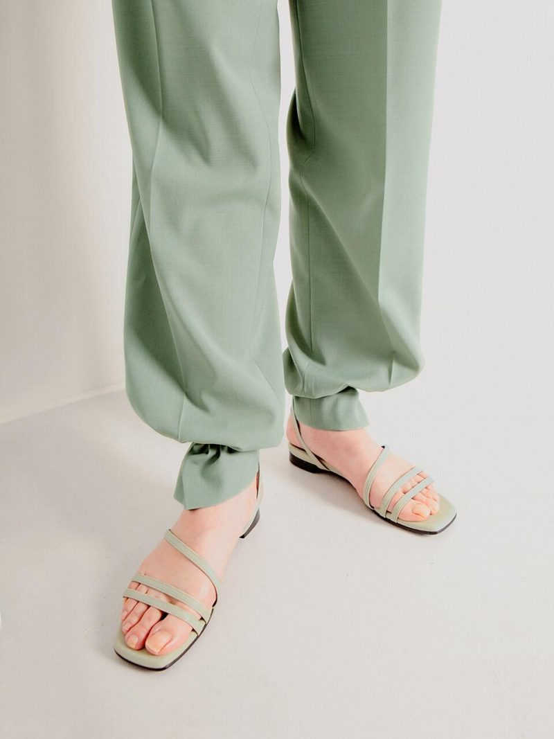 Strappy Flat Sandals Pale Green