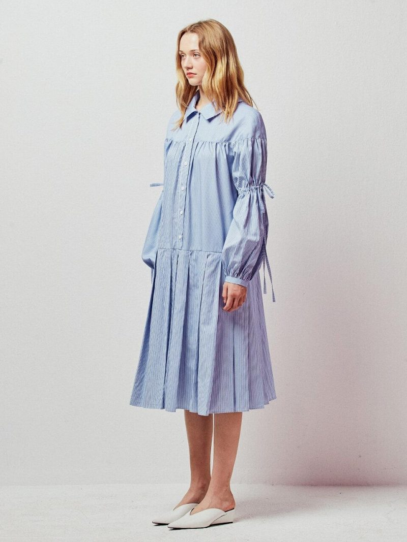 Stripe Lace-up Balloon Sleeves Midi Dress_Blue