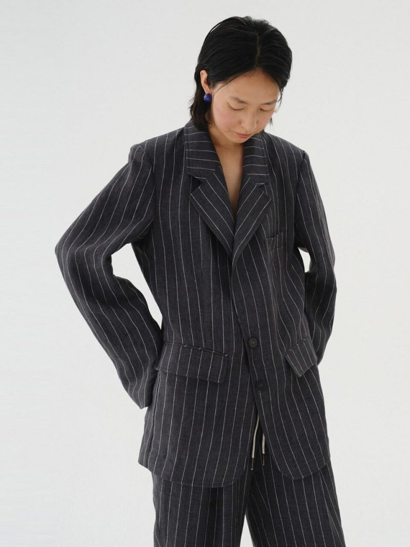 Striped Linen Jacket Charcoal Gray