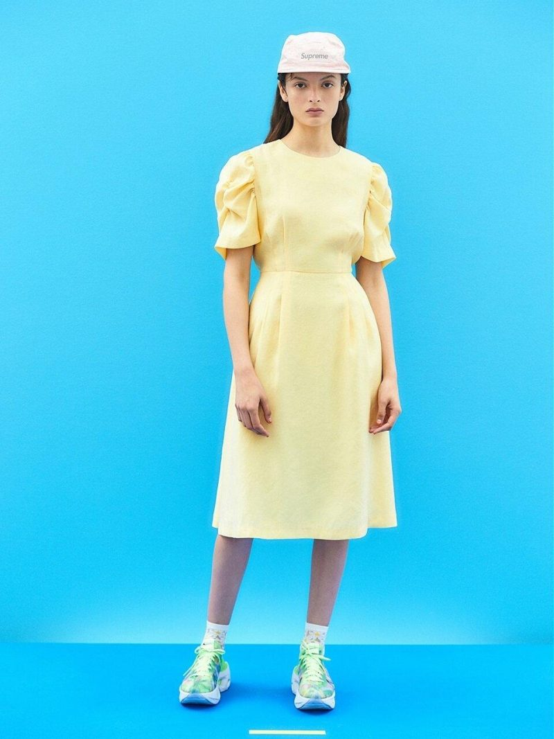 Tidy Shirring Sleeve Dress In Light Yellow