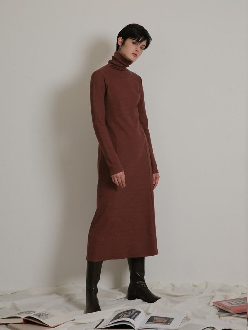 Turtle Neck Long Dress_Red Brown