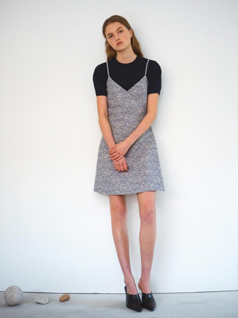 Tweed Wrap Dress Blue