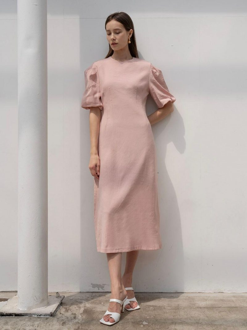 Voluminous Midi Dress In Pink