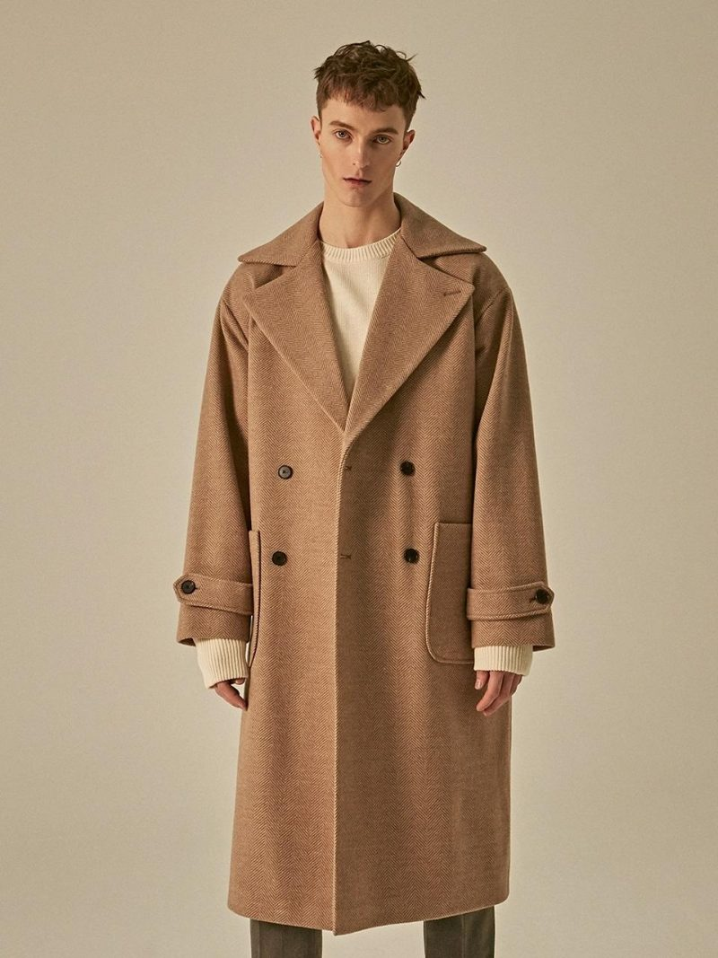 Wide Lapel Double Wool Coat Beige