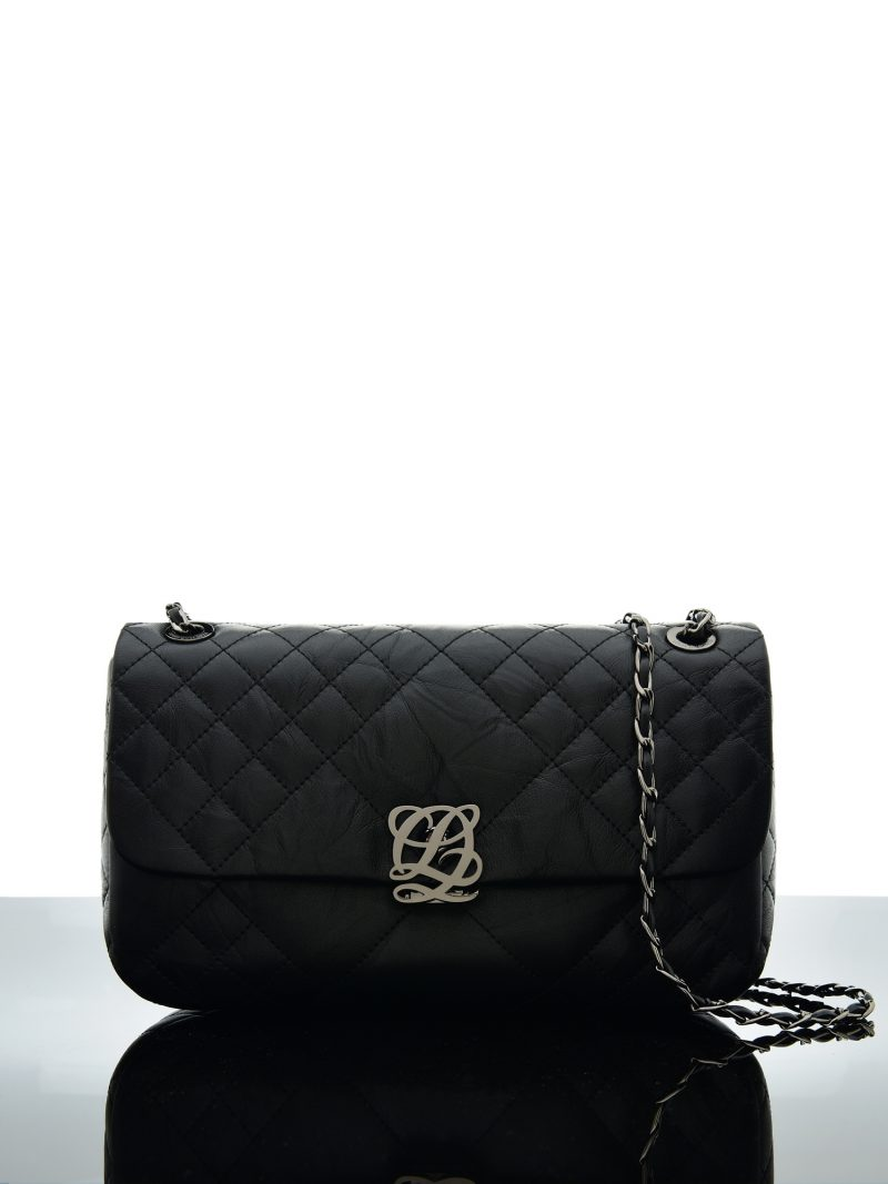 Womens Diamond Quilted Silver Shoulder Bag