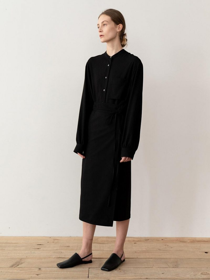 Wrap Midi Dress Black