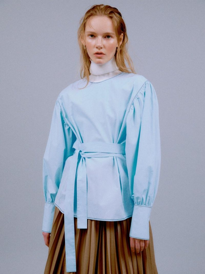 [Exclusive] Inna Belted Puff Blouse_Sky Blue