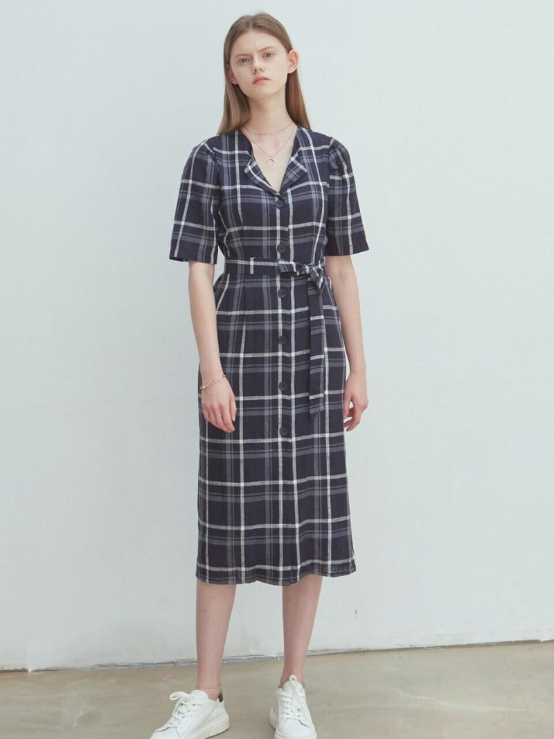 Linen Check Shirt Dress_Navy