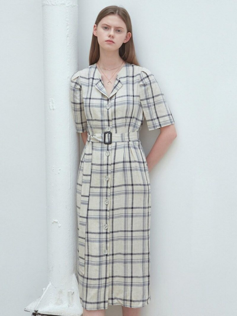 Linen Check Shirt Dress_Oatmeal