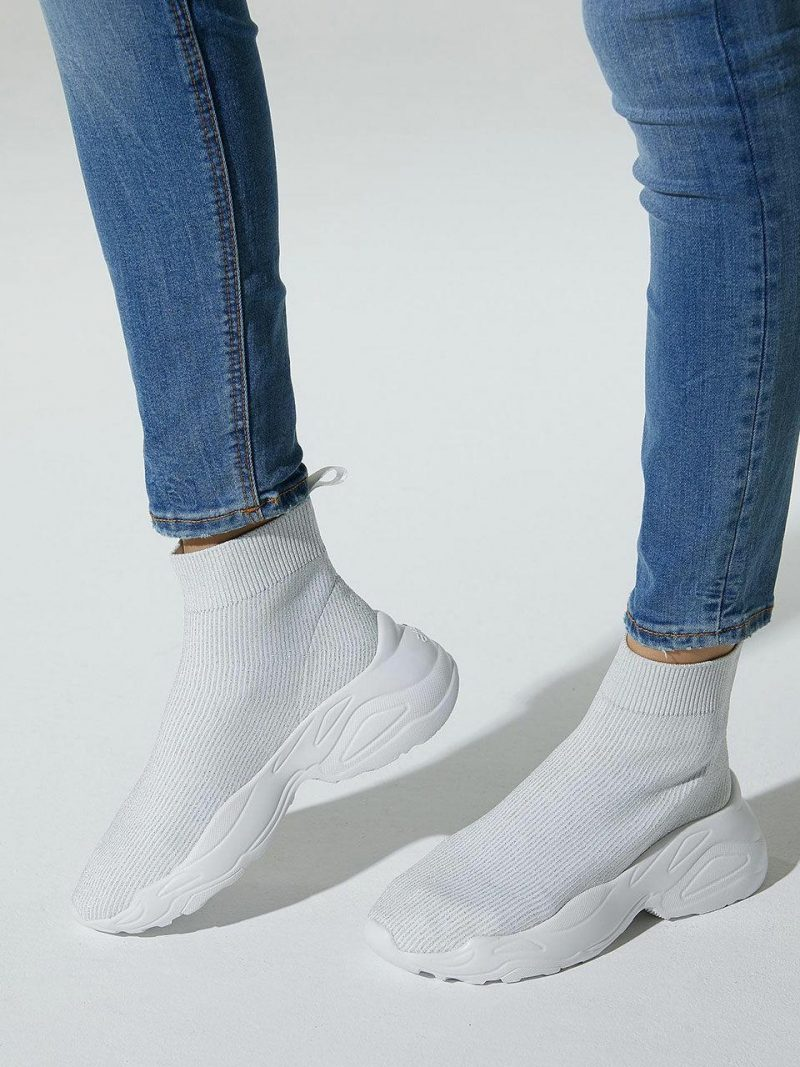 Silver Pearl Sheepskin Socks Sneakers