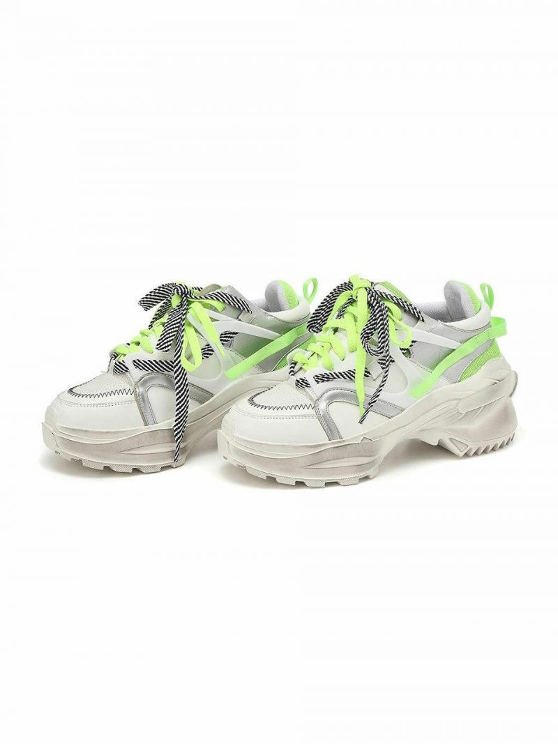 Solar Green Color Blocking Cow Leather Sneakers