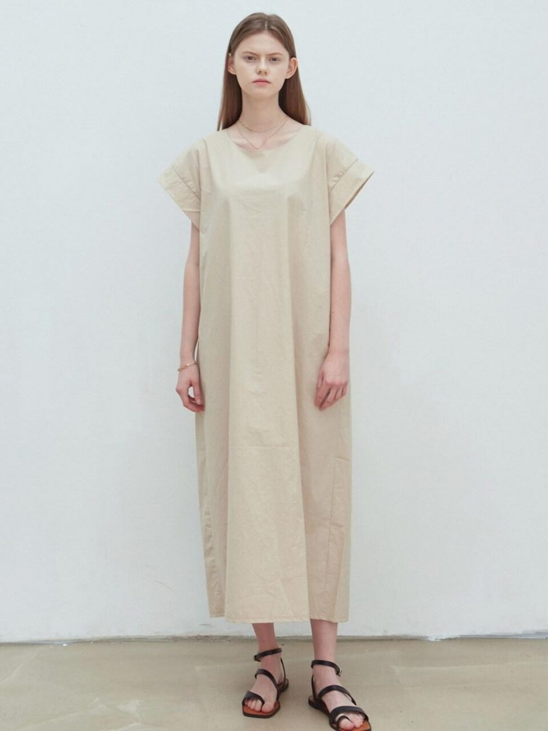 Wide Sleeve Long Dress_Light Beige