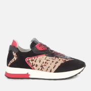 Ash Women's Tiger Suede/Nylon Running Style Trainers - Black/Red/Leopard - UK 3