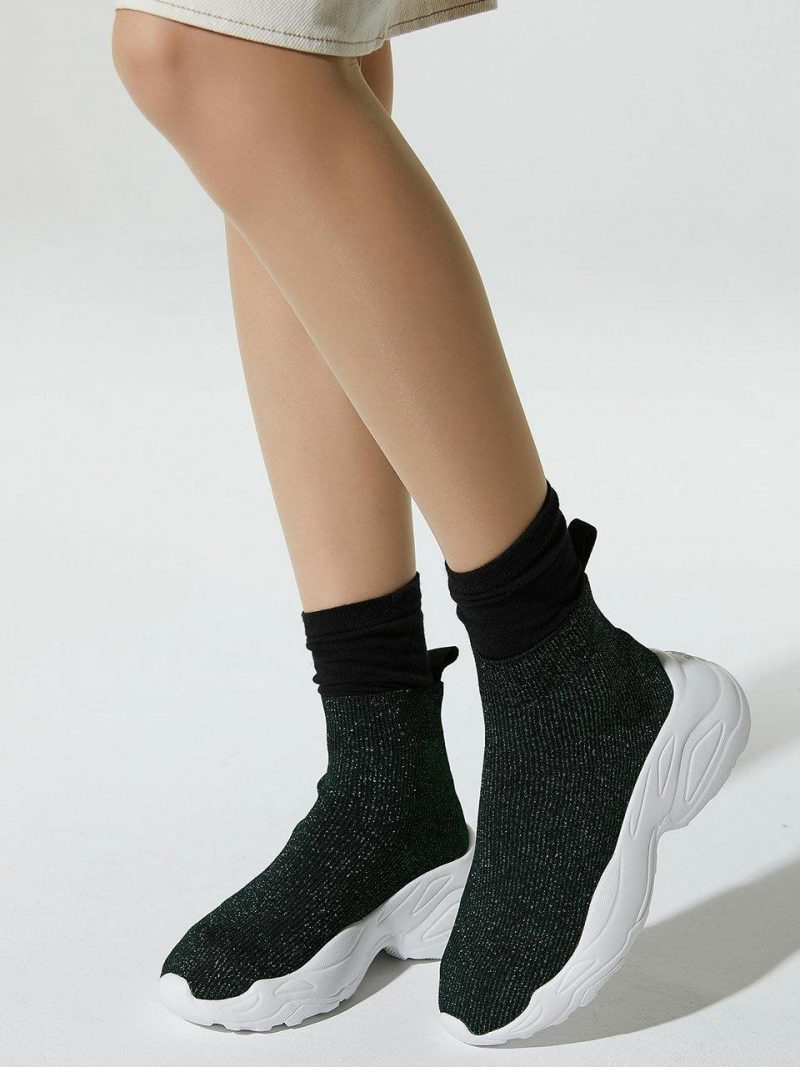 Green Pearl Sheepskin Socks Sneakers
