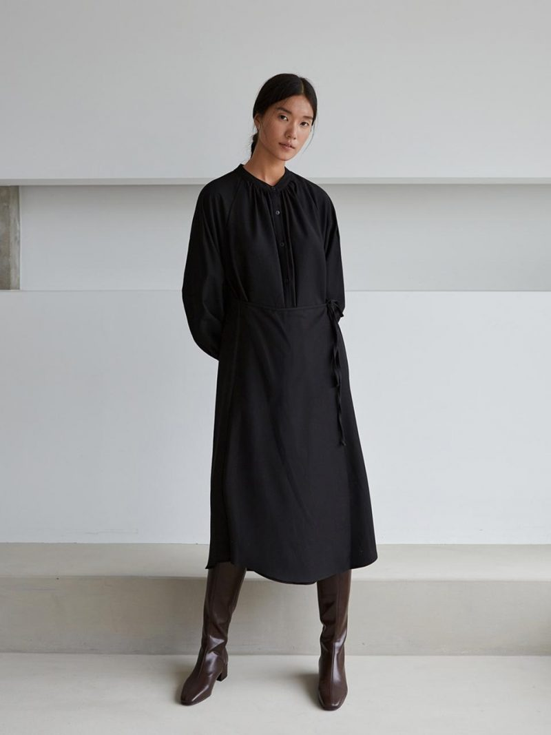 2-WAY WOOL WARP DRESS-BLACK