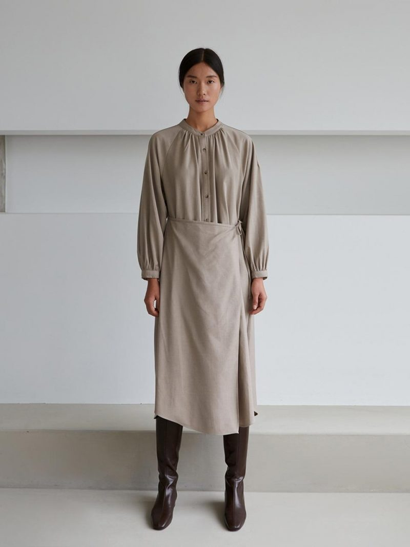 2-WAY WOOL WARP DRESS-OATMEAL