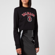 Balmain Women's Short Collegiate Logo Sweatshirt - Black - XS