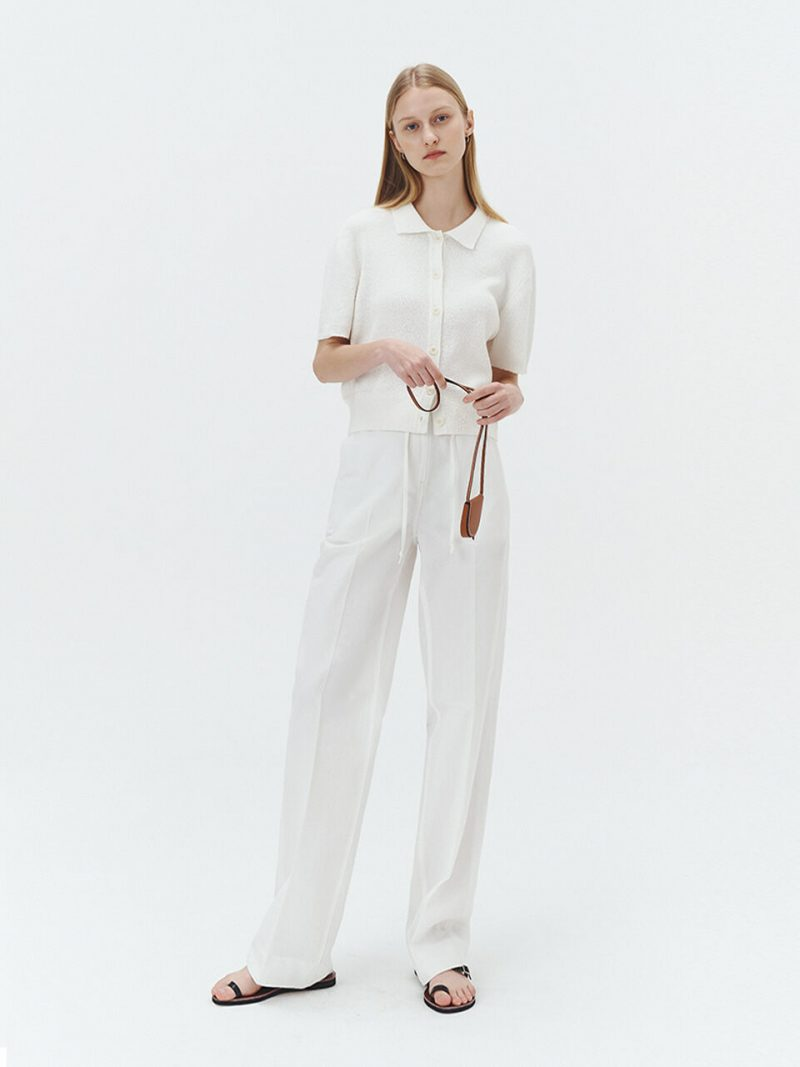 Bamboo Banded Semi Wide Pants_Off White
