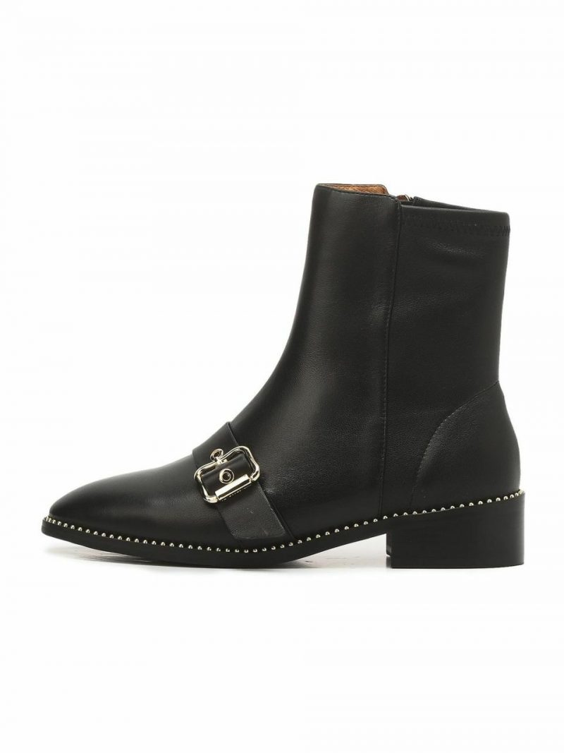 Black Buckle Casual Boots