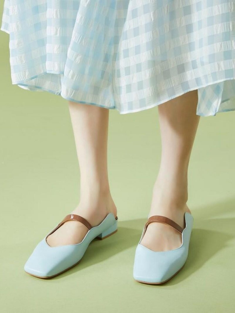 Blue Strap Cow Leather Mule