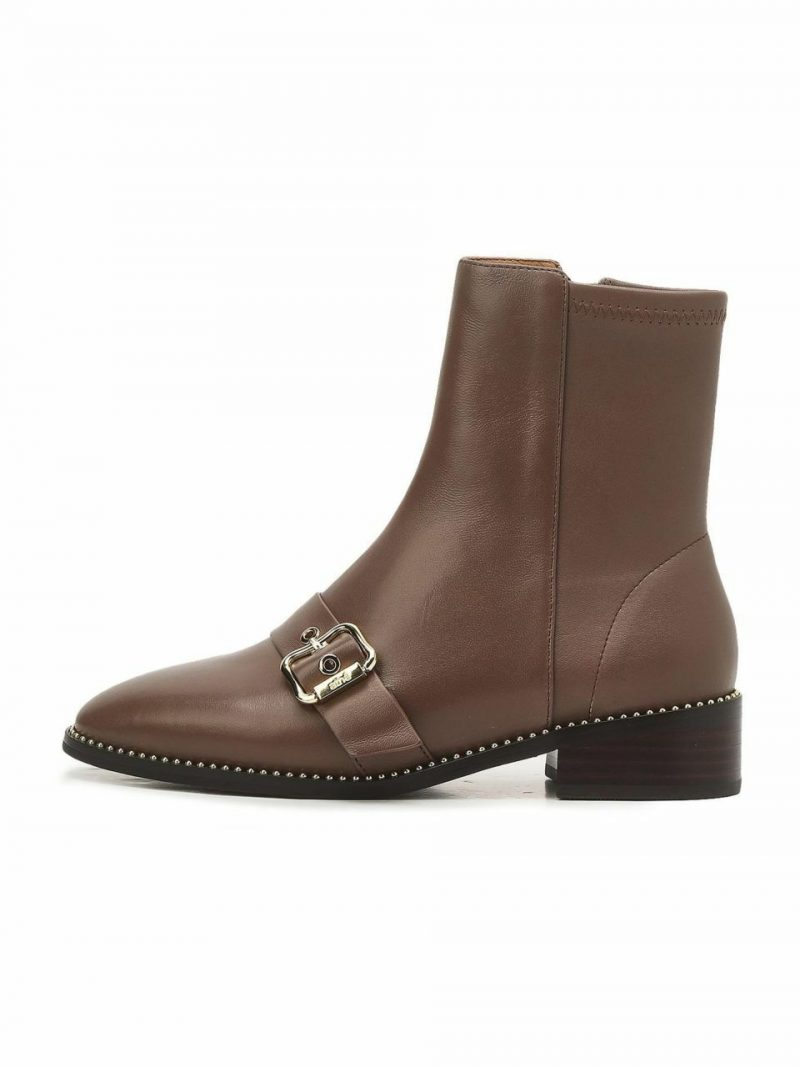 Brown Buckle Casual Boots