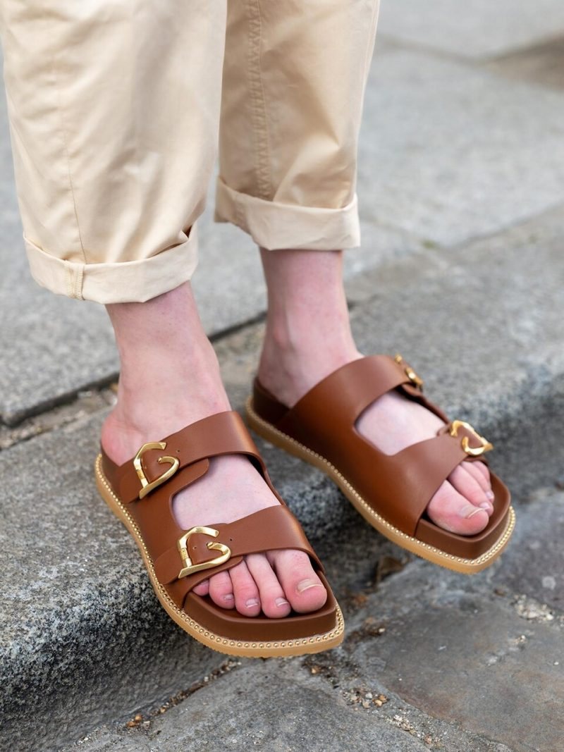 Brown Buckle Leather Slipper