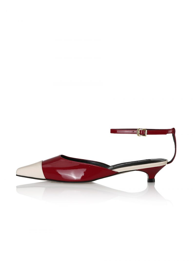 Charlotte Back-T Mary Jane Sandals / Cream Ck+Red Ck