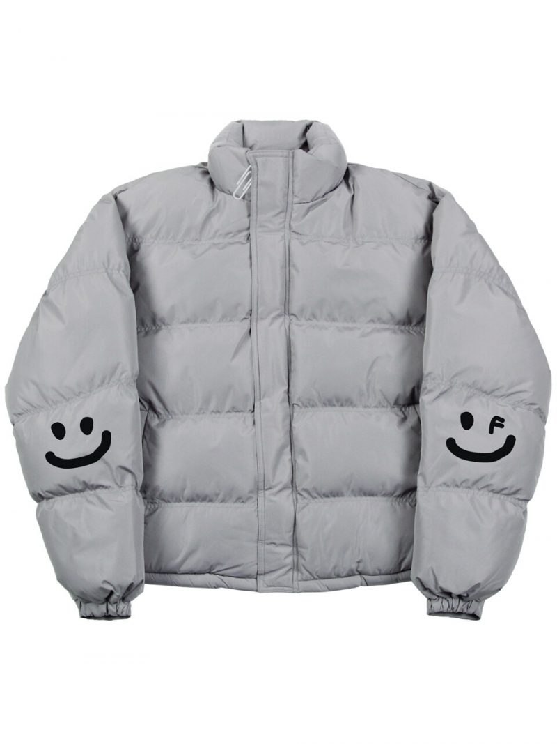 Elbow Smile Graphic Short Padded Jacket Gray