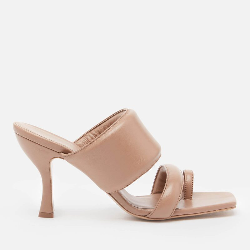 Gia Couture X Pernille Women's Perni 10 Leather Double Strap Heeled Mules - Nude Brown - UK 3